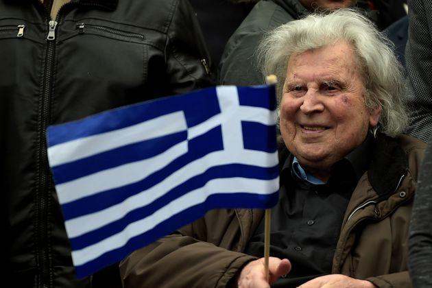 Greek composer Mikis Theodorakis takes part in a demonstration, in Syntagma square in central Athens on February 4, 2018, to urge the government not to compromise in the festering name row with neighbouring Macedonia.  / AFP PHOTO / ANGELOS TZORTZINIS        (Photo credit should read ANGELOS TZORTZINIS/AFP via Getty Images) (Photo: ANGELOS TZORTZINIS via Getty Images)