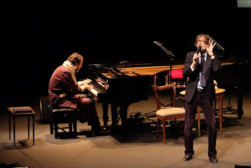 Jarvis Cocker performs with Chilly Gonzales at the Barbican in London, March 2017: Mark Allan/Barbican