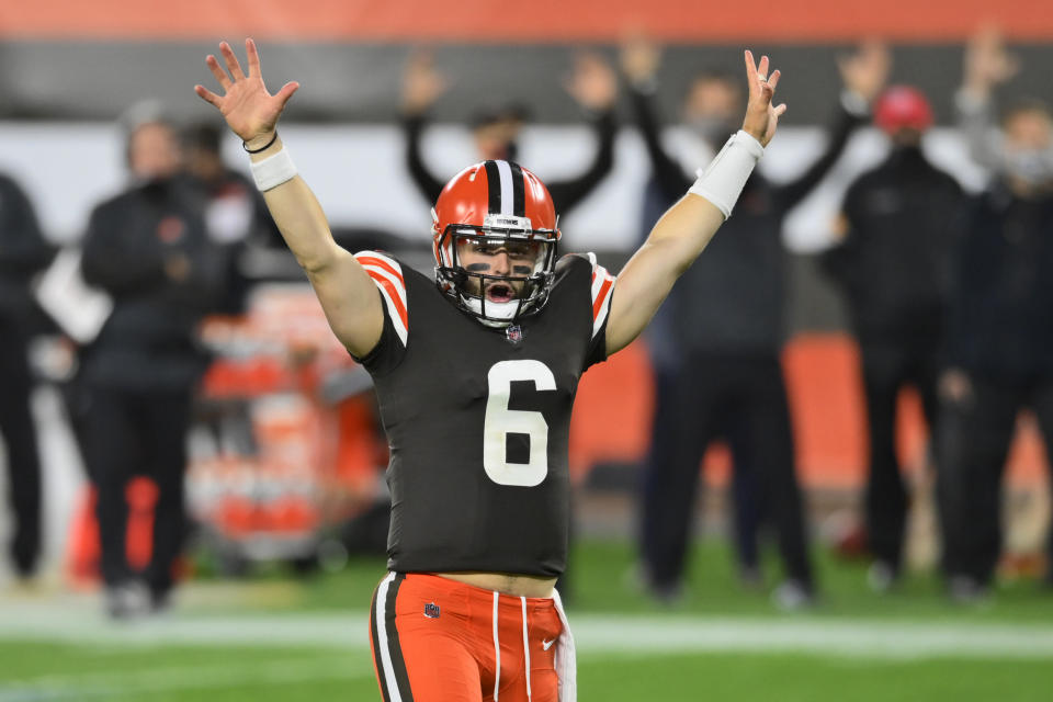 Cleveland Browns quarterback Baker Mayfield and his team have played much better the past two weeks. (AP Photo/David Richard)