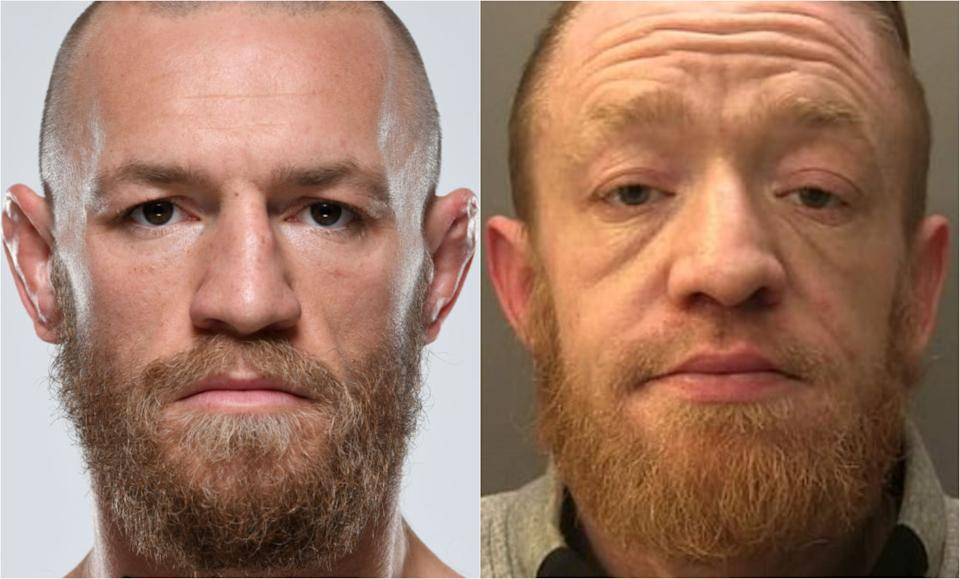 Police found boric acid, a substance typically used to cut drugs, and a meat cleaver on a man pretending to be MMA star Conor McGregor. (Surrey Police via The Irish Post, Getty Images)