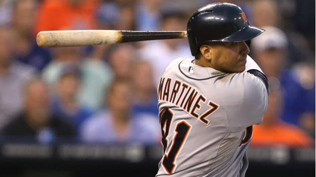 "Tigers designated hitter <a class=""link rapid-noclick-resp"" href=""/mlb/players/6853/"" data-ylk=""slk:Victor Martinez"">Victor Martinez</a> to undergo heart procedure that will end his season. (AP)"