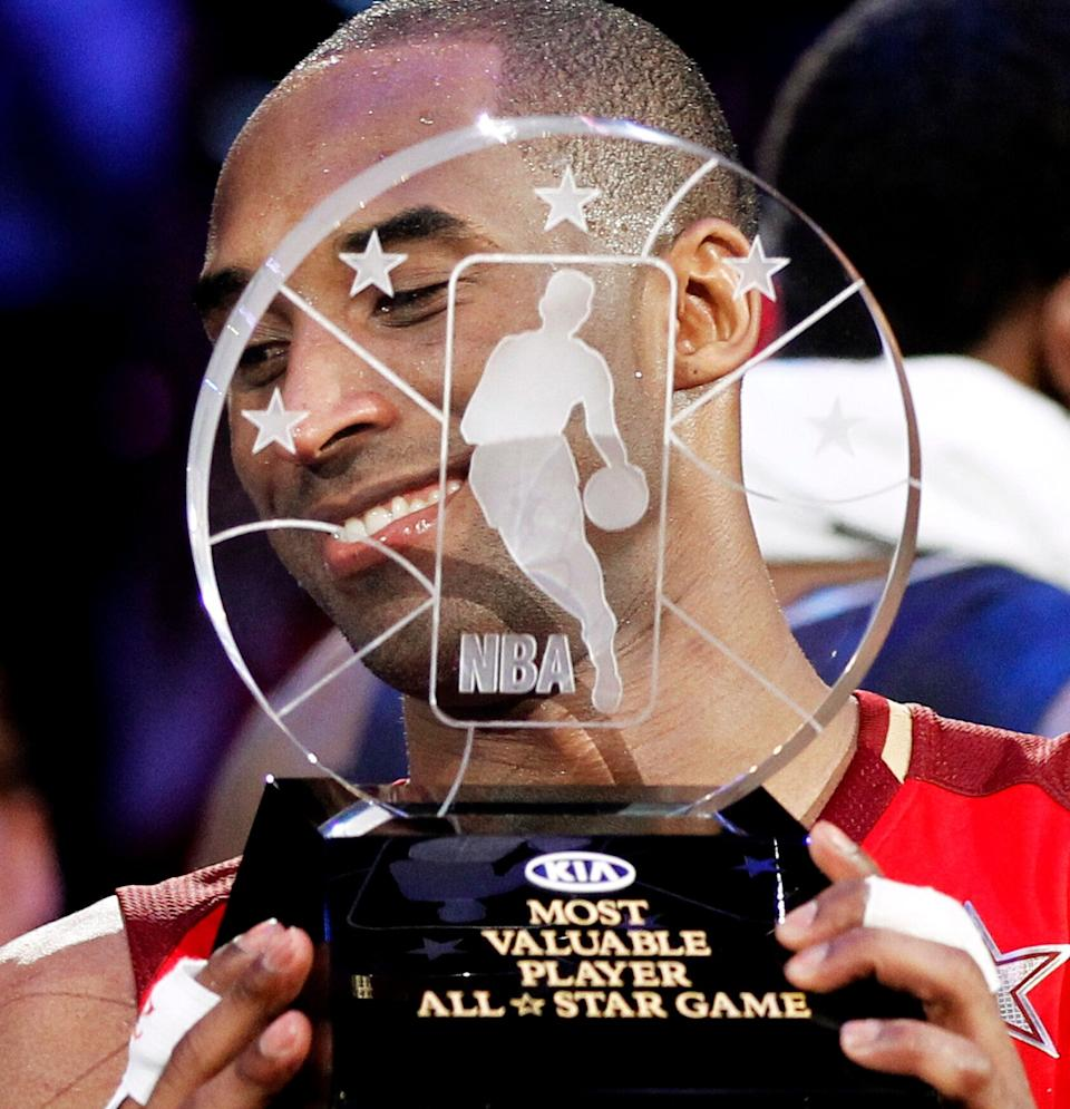 Kobe Bryant, pictured here in 2011, won the NBA All-Star Game MVP award four times — in 2002, 2007, 2009 (along with Shaquille O'Neal) and 2011. (Photo: Danny Moloshok/Reuters)