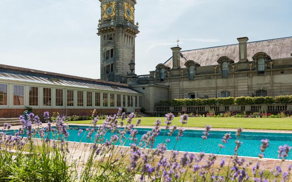 French lavender lines the pool at Cliveden House, Berkshire  - Adam Lynk