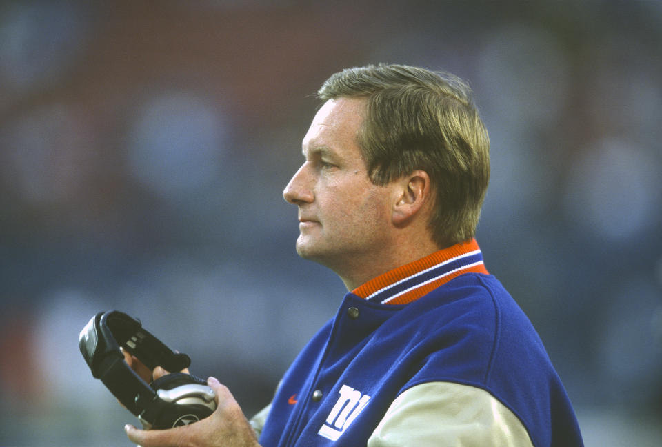 EAST RUTHERFORD, NJ - JANUARY 14:  Head Coach Jim Fassel of the New York Giants looks on from the sidelines against the Minnesota Vikings during the NFC Championship Game on January 14, 2001 at Giants Stadium in East Rutherford, New Jersey. The Giants won the game 41-0.  (Photo by Focus on Sport/Getty Images)