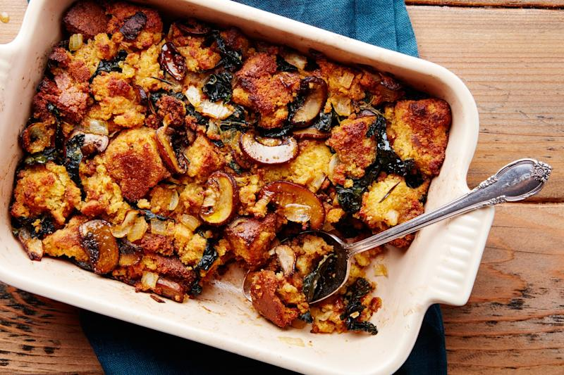 A mushroom-cornbread stuffing that has definitely not dried out.