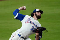 Atlanta Braves starting pitcher Ian Anderson (36) works in the fourth inning of a baseball game against the Philadelphia Phillies, Saturday, April 10, 2021, in Atlanta. (AP Photo/John Bazemore)