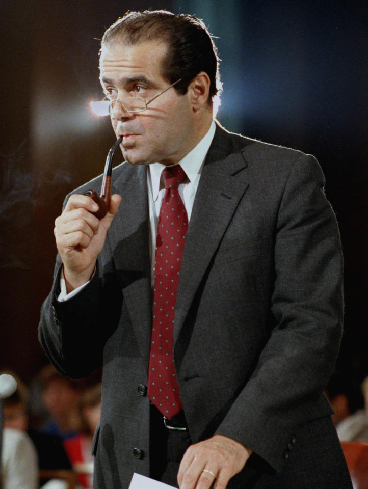 <p>Supreme Court Justice nominee Anthony Scalia at the Senate Judiciary Committee during his confirmation hearings in Washington on August 6, 1986.  <i>(Photo: Lana Harris/AP)</i></p>