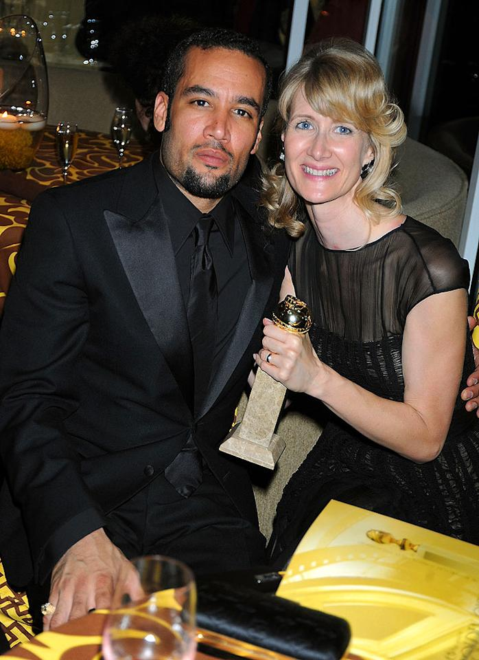 "Golden Globe winner Laura Dern proudly posed with her husband Ben Harper and her trophy at HBO's after party at Circa 55. Jeff Kravitz/<a href=""http://filmmagic.com/"" target=""new"">FilmMagic.com</a> - January 11, 2009"