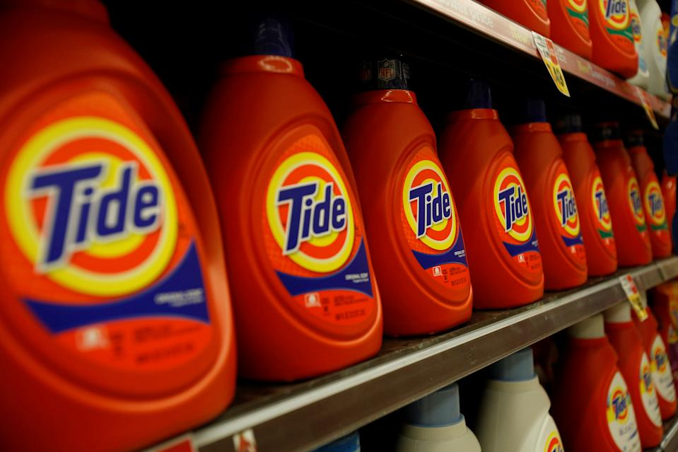 "Tide laundry detergent, a product distributed by Procter & Gamble, is pictured on sale at a Ralphs grocery store in Pasadena, California January 21, 2014.  REUTERS/Mario Anzuoni/File Photo      GLOBAL BUSINESS WEEK AHEAD PACKAGE - SEARCH ""BUSINESS WEEK AHEAD AUG 1"" FOR ALL IMAGES"