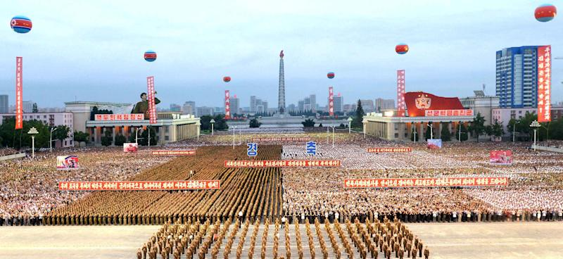 A celebration in Pyongyang marks the success of a test for the installation of an intercontinental ballistic missile in this undated photo released by North Korea's Korean Central News Agency. (KCNA KCNA / Reuters)