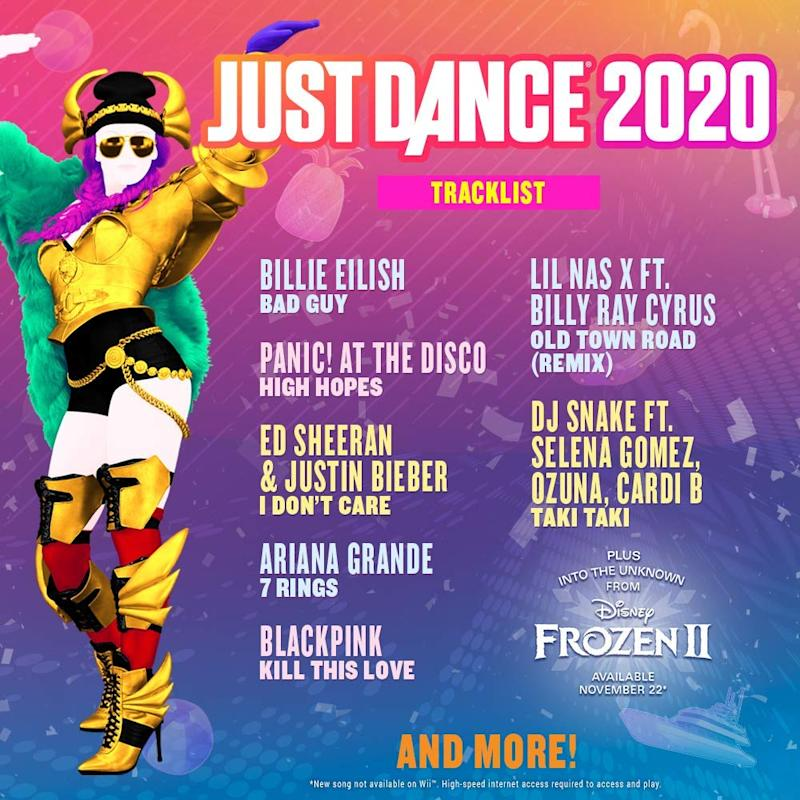 Just Dance 2020 comes loaded with songs from top pop artists like Billie Eilish and Selena Gomez. (Photo: Amazon)
