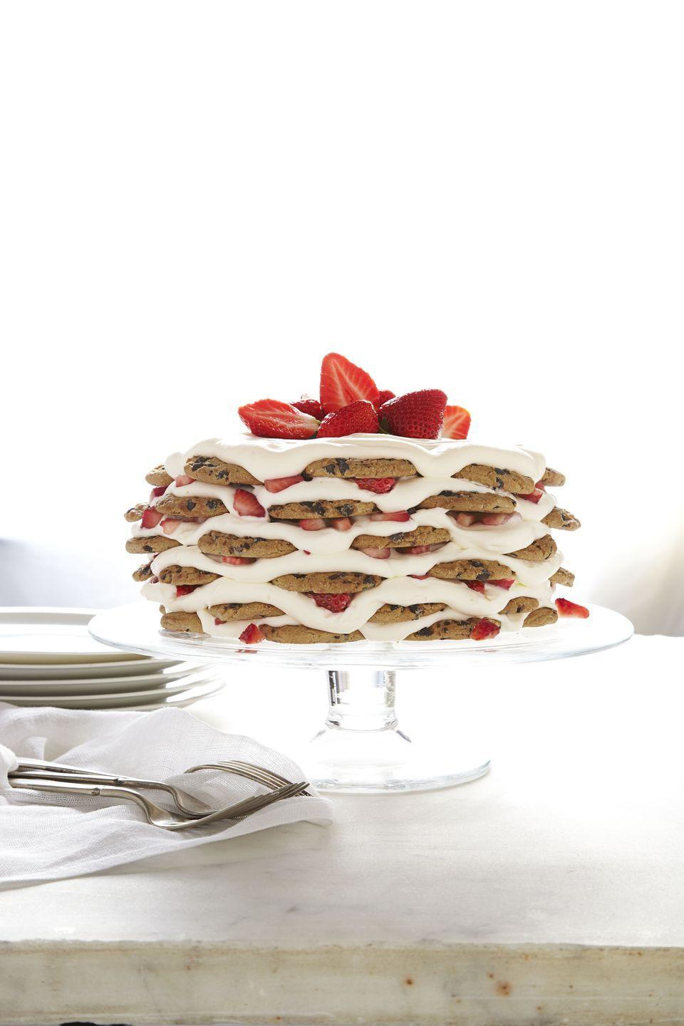 """<p>America's two favorite desserts — cookies and cake — combined into one is the best way to celebrate the nation's birthday.</p><p><em><a href=""""https://www.goodhousekeeping.com/food-recipes/a15288/strawberry-chocolate-chip-icebox-cake-recipe-ghk0713/"""" rel=""""nofollow noopener"""" target=""""_blank"""" data-ylk=""""slk:Get the recipe for Strawberry and Chocolate Chip Icebox Cake »"""" class=""""link rapid-noclick-resp"""">Get the recipe for Strawberry and Chocolate Chip Icebox Cake »</a></em></p>"""