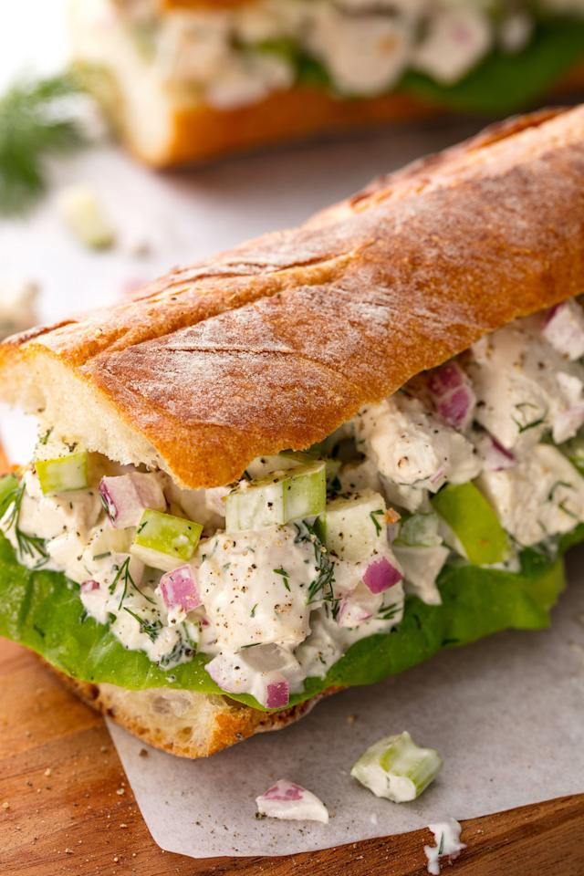 """<p>Just like Mama used to make.</p><p>Get the recipe from <a rel=""""nofollow"""" href=""""http://www.delish.com/cooking/recipe-ideas/recipes/a54787/best-chicken-salad-sandwich-recipe/"""">Delish</a>.</p>"""