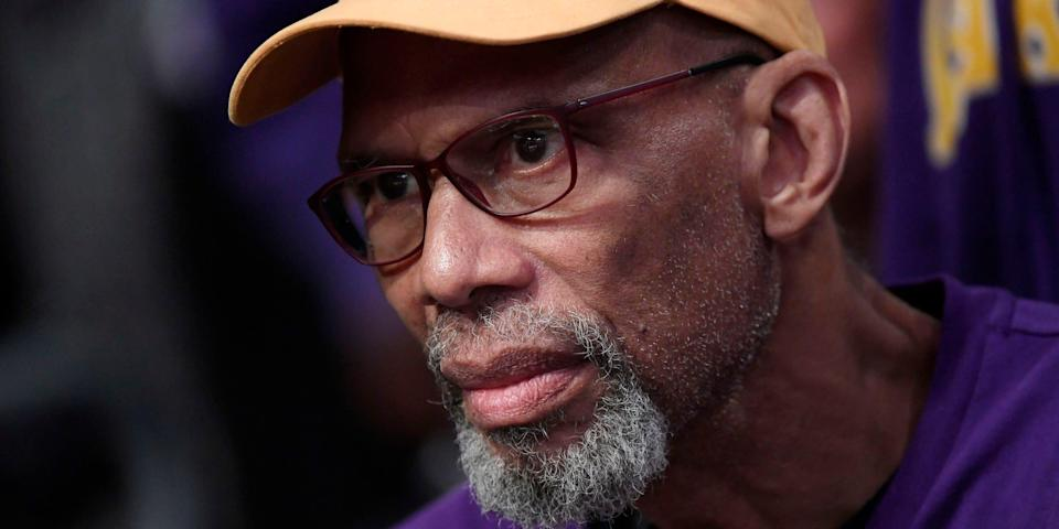 Los Angeles Lakers great Kareem Abdul-Jabbar attends the Los Angeles Lakers and Memphis Grizzlies basketball game at Staples Center on February 21, 2020 in Los Angeles, California.