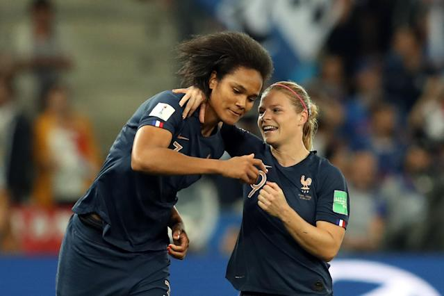 Eugenie Le Sommer, right, helped ease Wendie Renard's tensions as France beat Norway in an entertaining Group A encounter. (Getty)