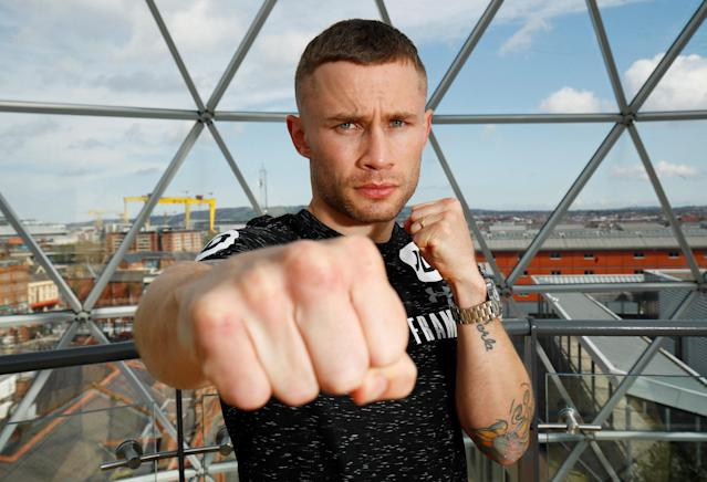 Boxing - Carl Frampton & Nonito Donaire Public Work-Outs - Victoria Square Shopping Centre, Belfast, Britain - April 19, 2018 Carl Frampton poses during the public work out Action Images via Reuters/Jason Cairnduff