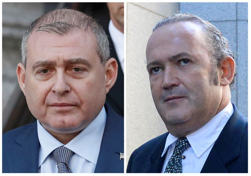 Combo file picture shows Ukrainian-American businessman Lev Parnas and Russian born businessman Igor Fruman exiting the United States Courthouse in New York