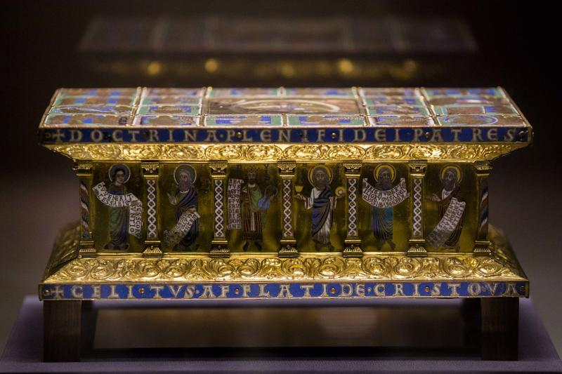 In this picture taken Jan. 9, 2014 the medieval portable altar of Eilbertus a part of the Welfenschatz, is displayed at the Bode Museum in Berlin. One of Germany's most precious collections of medieval Christian art is at the center of a complicated ownership dispute between the foundation that oversees the Berlin museums and the heirs of Jewish art dealers who claim their ancestors had to sell the objects to the Nazis under pressure in 1935. For years, both sides have claimed they're the legitimate owners, arguing their cases without finding a successful solution, so on Wednesday Jan 15, 2014, in a highly anticipated meeting, a German government-created commission will come together to make a recommendation on who should rightfully own the so-called Welfenschatz -or Guelph Treasure. (AP Photo/Markus Schreiber)