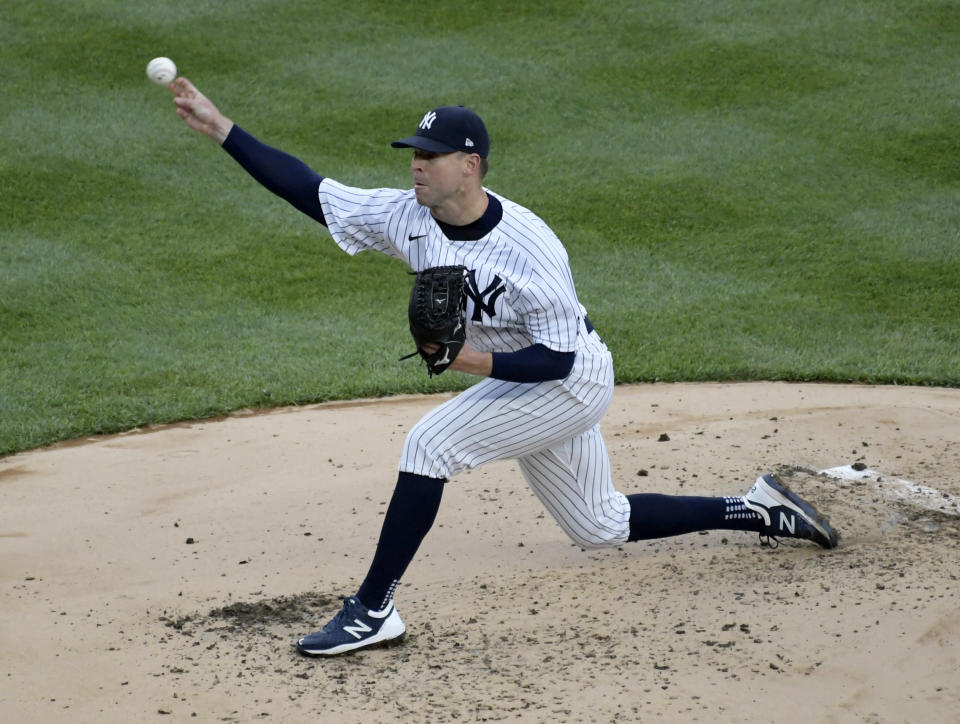 New York Yankees pitcher Corey Kluber throws during the third inning of a baseball game against the Washington Nationals, Saturday, May 8, 2021, at Yankee Stadium in New York. (AP Photo/Bill Kostroun)