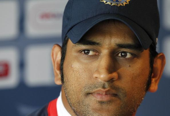 India's Captain MS Dhoni attends a press conference at Lord's Cricket Ground in London, on July 20, 2011. England are due to play India in the first test match of the series starting on July 21. AFP PHOTO / IAN KINGTON