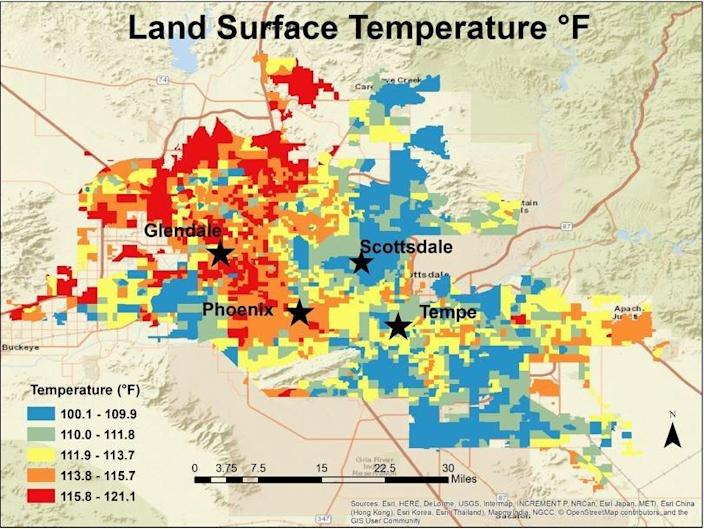 Temperatures throughout the Phoenix area on August 22, 2019, as mapped by Jake Dialesandro and other researchers as part of a study of heat disparities in urban areas across the Southwest.