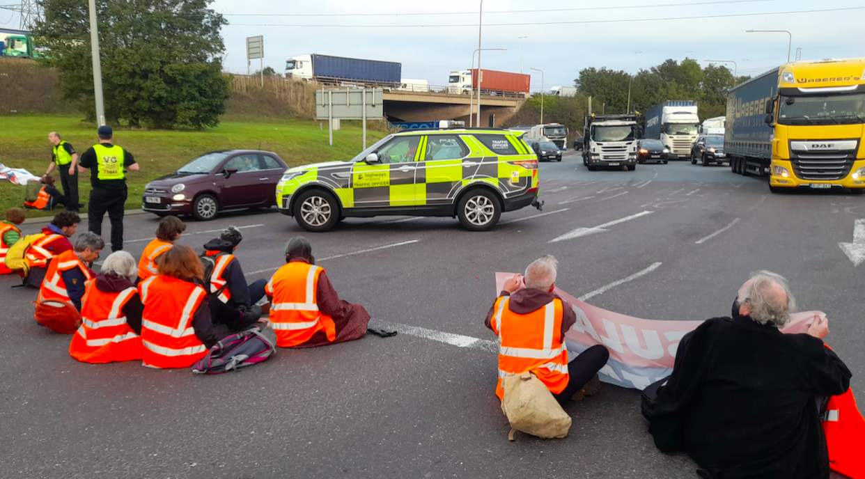 Protesters from Insulate Britain staged another sit-in on the M25 this morning. (PA)