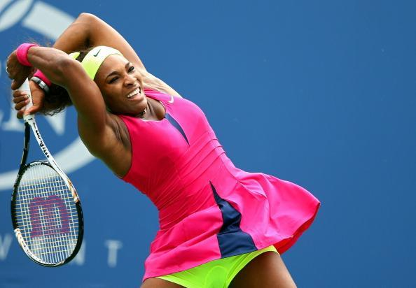 Serena Williams of the United States returns a shot against Andrea Hlavackova of Czech Republic during their women's singles fourth round match on Day Eight of the 2012 US Open at USTA Billie Jean King National Tennis Center on September 3, 2012 in the Flushing neighborhood of the Queens borough of New York City. (Photo by Al Bello/Getty Images)