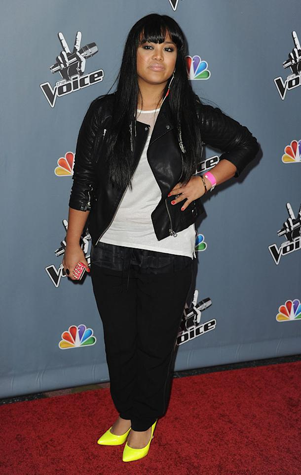 "Cheesa Laureta arrives at the screening of NBC's ""The Voice"" Season 4 at TCL Chinese Theatre on March 20, 2013 in Hollywood, California."