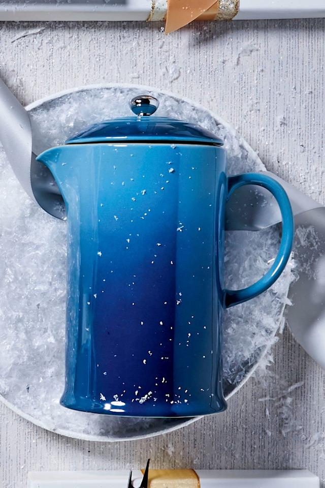 """<p>He can make cafe-quality coffee at home with a stoneware French press from cult-favorite Le Creuset.</p> <p><strong>Buy It: </strong>$50; <a href=""""https://www.pntrs.com/t/8-9049-131940-87165?sid=SL%2CRX_1812_HomebodyGifts_LargeFrenchPress%2Crellis1271%2CCHR%2CIMA%2C555812%2C201910%2CI&url=https%3A%2F%2Fwww.lecreuset.com%2Ffrench-press-stoneware"""" target=""""_blank"""">lecreuset.com</a></p>"""