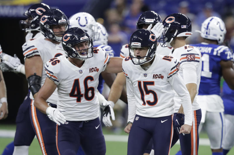 Chicago Bears kicker Eddy Pineiro, right, is congratulated after kicking a 58-yard field goal during the second half of their preseason game against the Colts on Saturday in Indianapolis.