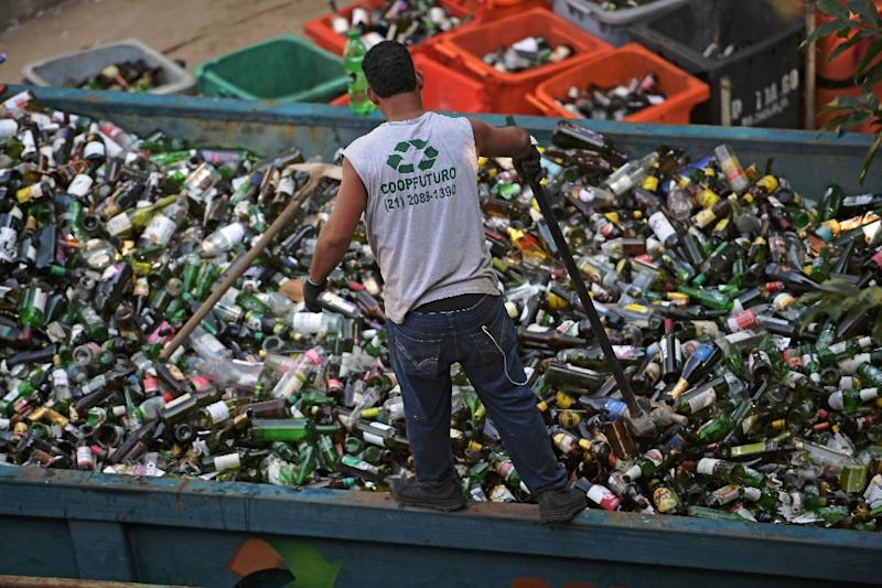 Brazil is the world's fourth biggest producer of plastic rubbish, but recycling efforts have lagged (AFP Photo/CARL DE SOUZA)