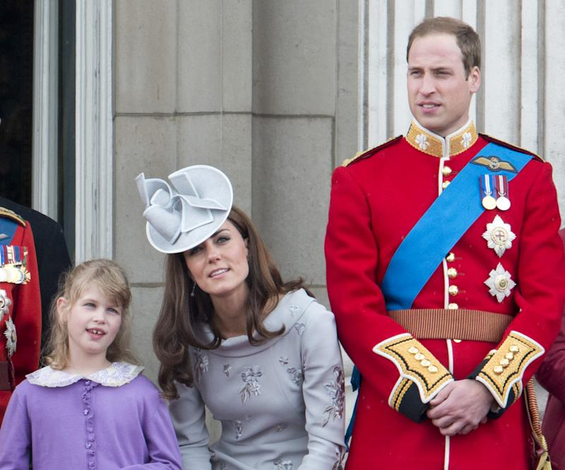 Lady Louise Windsor , Prince William Duke Of Cambridge And Catherine, Duchess Of Cambridge During Trooping The Colour In London. (Photo by Mark Cuthbert/UK Press via Getty Images)