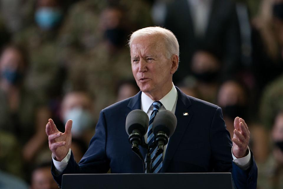 US President Joe Biden addresses US Air Force personnel at RAF Mildenhall in Suffolk, ahead of the G7 summit in Cornwall in Mildenhall, England.