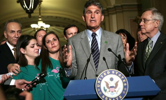 Sen. Joe Manchin (D-W.V.) is still pushing for expanded background checks. That's not enough for some Democrats.