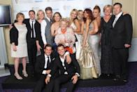 LONDON, ENGLAND - MAY 22: Mark Wright, Amy Childs, Sam Fairs, Lauren Goodger, Joey Essex, Lydia Bright, James Argent, Nanny Pat and Kirk Norcross of The only way Is Essex pose with their You Tube Audience Award in front of the winners boards at The Phillips British Academy Awards 2011 at The Grosvenor House Hotel on May 22, 2011 in London, England. (Photo by Dave Hogan/Getty Images)