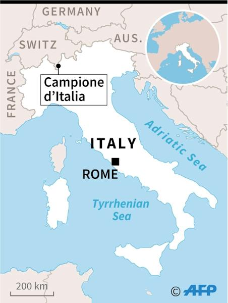 Map locating Campione d'Italia, an Italian enclave inside the Swiss canton of Ticino, where a casino is closing. (AFP Photo/Alice LEFEBVRE)