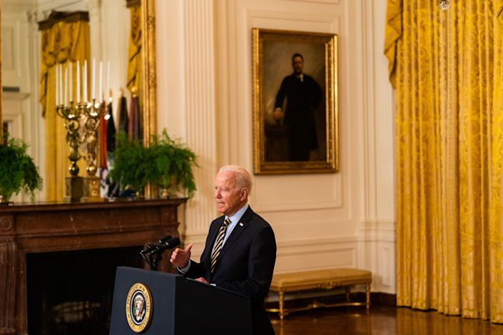 WASHINGTON, DC  July 8, 2021:  US President Joe Biden delivers remark regarding the Afghanistan drawdown in the East Room of the White House on July 8, 2021.  (Photo by Demetrius Freeman/The Washington Post via Getty Images)