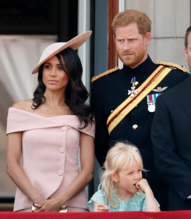 Meghan's latest look is similar to the Carolina Herrera she wore to her first Trooping the Colour earlier this month. (Photo: Getty Images)