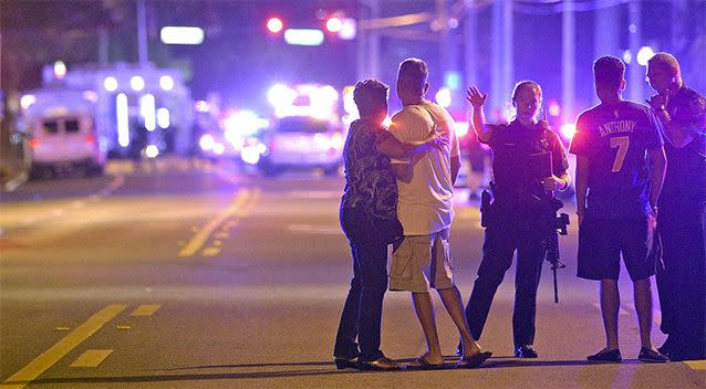 Lights and sirens filled downtown Orlando after the shootings at Pulse nightclub. Photo: AP