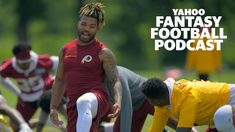 On the latest Yahoo Fantasy Football Podcast, Liz Loza and Matt Harmon discuss players they think are being drafted well ahead of their value, including Washington RB Derrius Guice. (Photo by John McDonnell/The Washington Post via Getty Images)