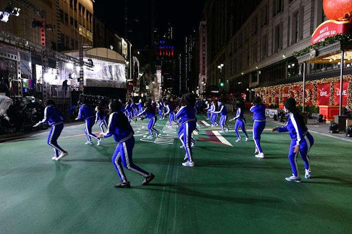 Zeta Beta Phi Steppers perform as Celebrity And Performance Groups Rehearse At Herald Square In Preparation For The 94th Annual Macy's Thanksgiving Day Parade® on November 23, 2020 in New York City. (Photo by Eugene Gologursky/Getty Images for Macy's, Inc.)
