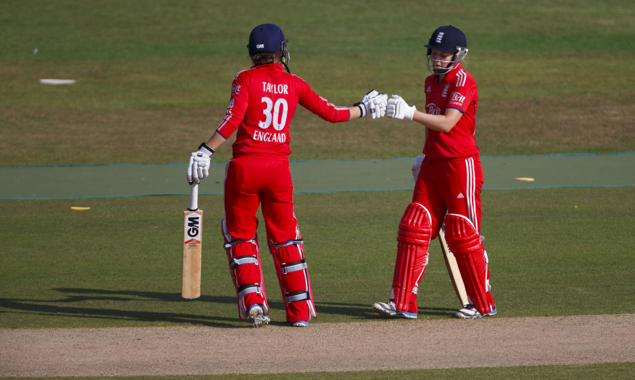 England's Heather Knight and Sarah Taylor during their batting partnership during the One Day International at The County Ground, Hove.