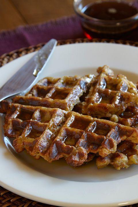 """<p>It's a Thanksgiving dream come true: Enjoy stuffing for breakfast by throwing it in your waffle maker and topping with eggs, avocado, or syrup.</p><p><em><a href=""""https://www.goodhousekeeping.com/holidays/thanksgiving-ideas/a35466/make-waffles-from-leftover-stuffing/"""" rel=""""nofollow noopener"""" target=""""_blank"""" data-ylk=""""slk:Get the recipe for Leftover Stuffing Waffles »"""" class=""""link rapid-noclick-resp"""">Get the recipe for Leftover Stuffing Waffles »</a></em></p>"""