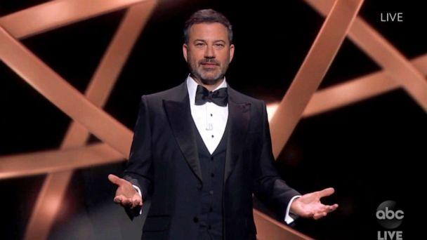PHOTO: In this video grab, host Jimmy Kimmel speaks during the 72nd Emmy Awards broadcast, Sept. 20, 2020. (ABC via AP)