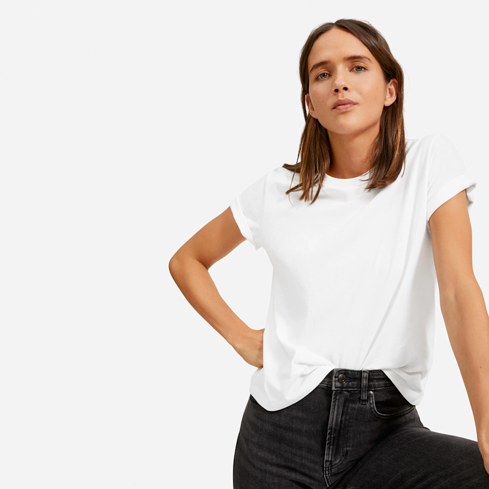 """<h3><strong>Everlane The Organic Cotton Box-Cut Tee</strong></h3><br><strong>Why It's A Best Buy</strong>: Constructed from luscious, lightweight 100% organic cotton, this tee's value is well beyond its $18 price tag. It also boasts a 4.6 out of 5-stars rating on Everlane.<br><br><strong>The Review</strong>: """"The Perfect Tee. This is my favorite t-shirt! So comfy, and just the right length. The perfect basic tee but still stylish and the white is just the right weight of fabric without being too see-through."""" <em>– Everlane Reviewer</em><br><br><strong>Everlane</strong> The Organic Cotton Box-Cut Tee, $, available at <a href=""""https://go.skimresources.com/?id=30283X879131&url=https%3A%2F%2Fwww.everlane.com%2Fproducts%2Fwomens-organic-cotton-box-cut-tee-white"""" rel=""""nofollow noopener"""" target=""""_blank"""" data-ylk=""""slk:Everlane"""" class=""""link rapid-noclick-resp"""">Everlane</a>"""