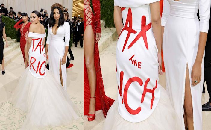 """A picture of Democratic Rep. Alexandria Ocasio-Cortez wearing a dress with the phrase """"Tax the Rich"""" at the 2021 Met Gala"""