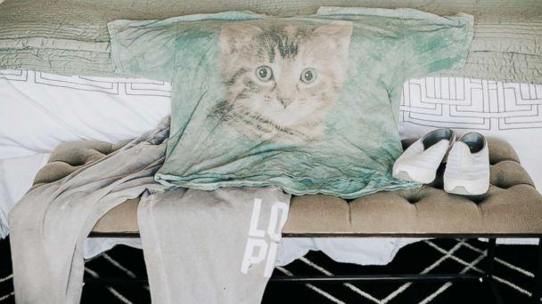 PHOTO: Erin Goldberg loves her old cat t-shirt and baggy sweatpants that she's had for years. (Molly McElenney Photography)