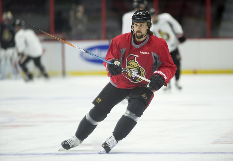 Ottawa Senators defenseman Erik Karlsson skates during practice in Ottawa, Wednesday April 26, 2017. The Senators will play the New York Rangers in the second round of the Stanley Cup playoffs. (Adrian Wyld/The Canadian Press via AP)
