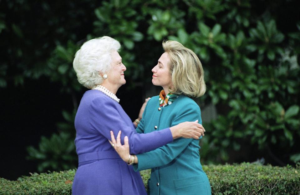 First lady Barbara Bush greets incoming first lady Hillary Clinton at the White House on Nov. 19, 1992 for the traditional tour of the family quarters.