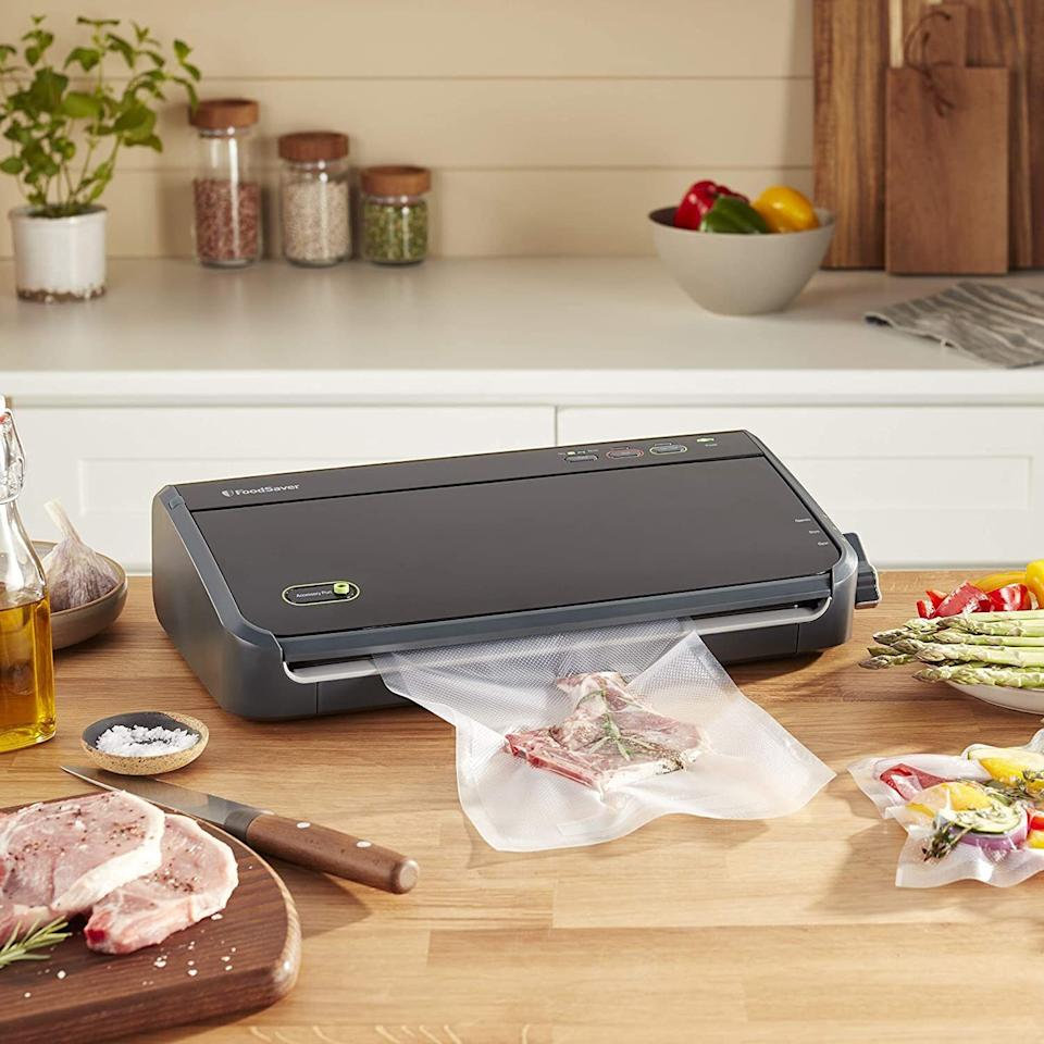 """You'll need this if you own avacuum sealer.<br /><br /><strong>Promising Review:</strong>""""I have used the FoodSaver bags for a couple of years and they always seal well. We get larger quantities of food, split them up, and freeze them. The results from the FoodSaver are very pronounced when comparing them to freezer bags with zippers, etc. The food comes out (even months later) as fresh tasting as it was when it went into the FoodSaver bags."""" —<a href=""""https://www.amazon.com/gp/customer-reviews/R3SD2UF6O7YQY9?&linkCode=ll2&tag=huffpost-bfsyndication-20&linkId=1bae07bc01ee64ee928f06def3b4542c&language=en_US&ref_=as_li_ss_tl"""" target=""""_blank"""" rel=""""noopener noreferrer"""">Kindle Customer</a><br /><br /><strong>Get a set of 44 bags from Amazon for <a href=""""https://www.amazon.com/FoodSaver-BPA-Free-Multilayer-Construction-Preservation/dp/B01D5TM5MS?&linkCode=ll1&tag=huffpost-bfsyndication-20&linkId=7bdbcbbdb262f0f8791bfa08bb6aed4c&language=en_US&ref_=as_li_ss_tl"""" target=""""_blank"""" rel=""""noopener noreferrer"""">$15.99</a>.</strong>"""